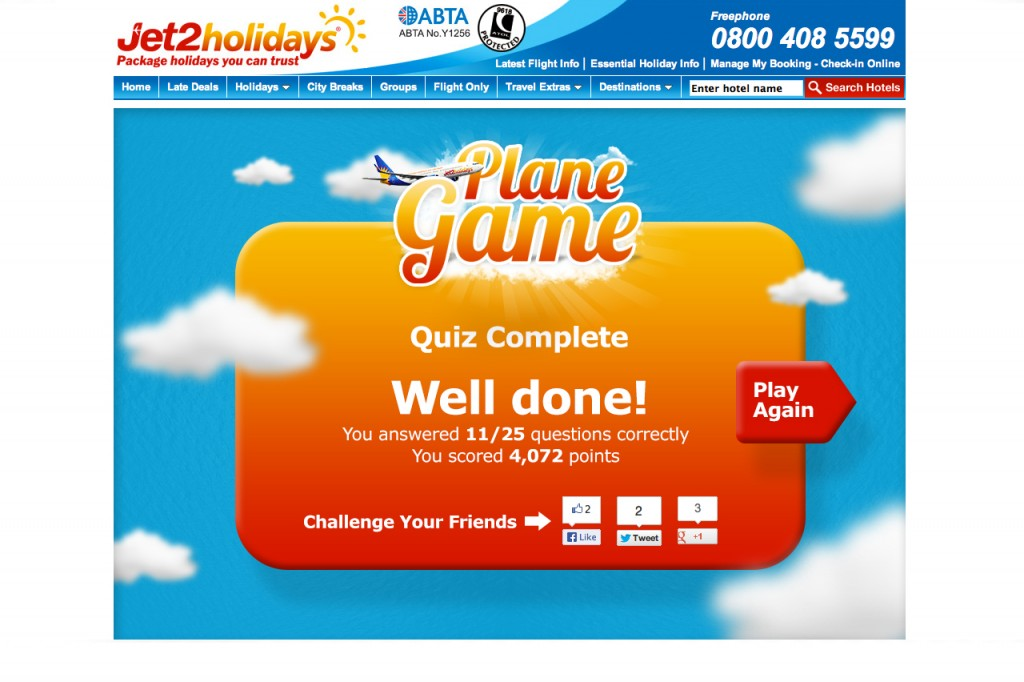 Jet2 holidays game Final Score ScreenV2